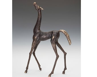 Stylized Stallion (long neck) bronze sculpture