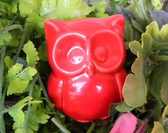 Ceramic  Owl Statue in  red Baby   Owl Nursery decoration baby, home or garden statue cm