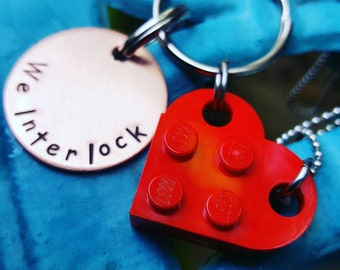 Couple set gift, Building block set Keychain and Pendant, Anniversary gift, Wedding Gift, BFF gift, Geeky gift, We Interlock, We connect