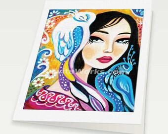 geisha and bird art japanese woman art for women feminine beauty affordable art gifts, woman card, blank art card, 6x8