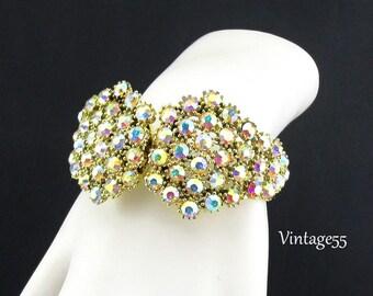 Bracelet Clamper Rhinestone Gold tone Aurora