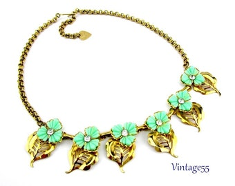 Necklace Turquoise Flower Gold tone Retro
