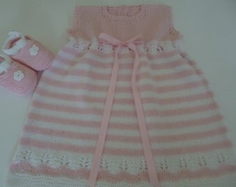 Summer Baby Set, Cotton Baby Dress, Summer Baby Dress,  Take Home Cotton Dress, Cotton Dress Booties, Baby Shower Gift, Striped  Dress.
