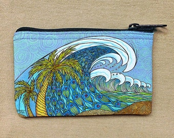 Palm Trees and Waves Coin Bag