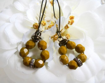 Czech Glass Beads Mustard Color Earrings,  Wire Wrapped Dangle Drop Earrings, , Rhinestones, Czech Earrings, Mustard Earrings