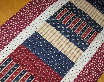 Quilted Table Runner, Patriotic, Americana Runner, 12 1/2 x 36 inches