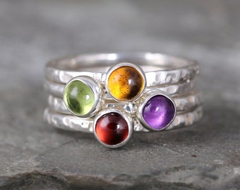 Colorful Gemstone Stacking Ring - You choose Garnet, Amethyst, Peridot or Citrine - Sterling Silver - Rustic Style - Handmade in Canada