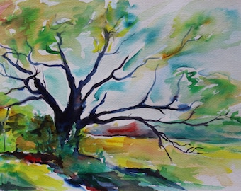 ORIGINAL Tree Painting watercolor 9x12