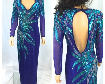 Vintage Blue Sequined Dress. Size 14. Alyce Designs. 1980s. Formal Dress. Open Back. Evening Wear. Wedding. Turquoise Teal Sequins. Silver.