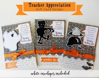 Kit Teacher Halloween Gift Card Holder /Dracula/ Ghost / Frankenstein/ Teacher Appreciation Gift Cards