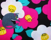 Japanese Fabric - Animal Print Fabric - Cats in Flowers - Fat Quarter - Cosmo Textile LIMITED YARDAGE