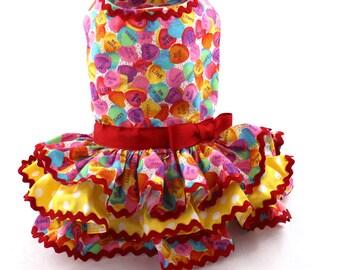 Dog Dress, harness dog dress, Valentine dog dress, Candy hearts