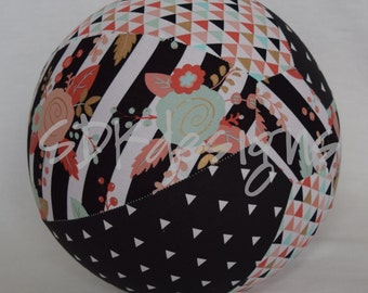 Fabric Balloon Cover - Roses and Triangles Gold Foil - Trendy Patterns for Kids and Tweens