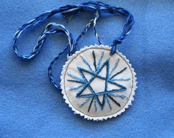 Blue Star Pentacle, Amulet, Necklace