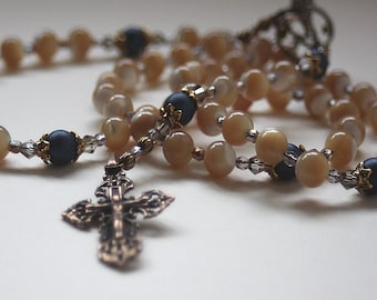 Mother Of Pearl - Swarovski Pearl Catholic Wedding or First Communion Rosary