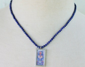 LAPIS Necklace Beaded Artisan Made Sterling Silver