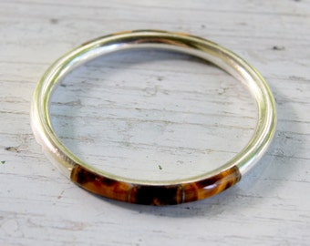 TAXCO Tigers Eye 950 Sterling Silver Inlaid Bangle Bracelet