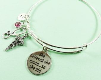 Doctor Bangle,Motivational Expandable Silver Bangle with Charms, Caduceus Charm, Medical Bangle, Personalized Birthstone & Initial Bangle