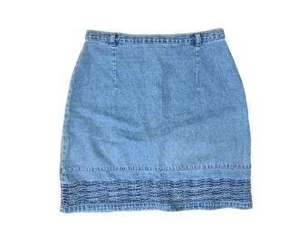 90s Jean Skirt High Waist Light Wash Denim Mini Skirt Textured Womens Miniskirt Boho Preppy Light Blue Skirt Vintage Dells XS Small