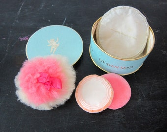1950s Vintage Powder Puff Collection retro Vanity decor Compact Makeup Box Heaven Sent Helena Rubinstein Burlesque Pin Up Girl Dell's