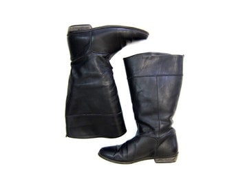 Tall Black Leather Boots 90s LL BEAN Lined Fall Winter Boots Vintage Slouchy Riding Boots Womens Equestrian Boots Slouchy Boho Boots 9 8.5