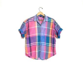 90s Madras Shirt Pink Blue Short Sleeve Surfer Tshirt Plaid Button Up Tshirt Vintage 1990s Hipster Boho Preppy 1990s Blouse Womens Large
