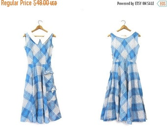 50s Sailor Dress Plaid High Waist SWISS DOT Blue White Sleeveless House Day Sundress Midi Cocktail Party Sun Dress Louanne's Vintage Small