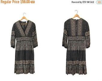 Vintage Tribal Dress 70s Bohemian Warrior Dress Empire Waist Midi Floral Hippie 80s Black Brown Boho Peasant Dress Small