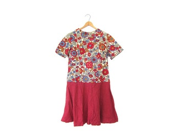 Floral Mini Dress 50s Colorful Red Blue Mod Minidress Short Sleeve 1950s Retro Flower Power Garden Day Dress Louannes Vintage Medium