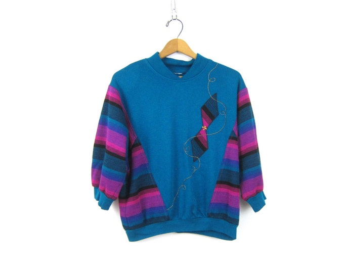Retro Sweater Blue Purple Striped Batwing Sleeves Sweatshirt Slouchy 1980s pullover Kite Tie patch Hipster Indie Girl Women's Size Medium