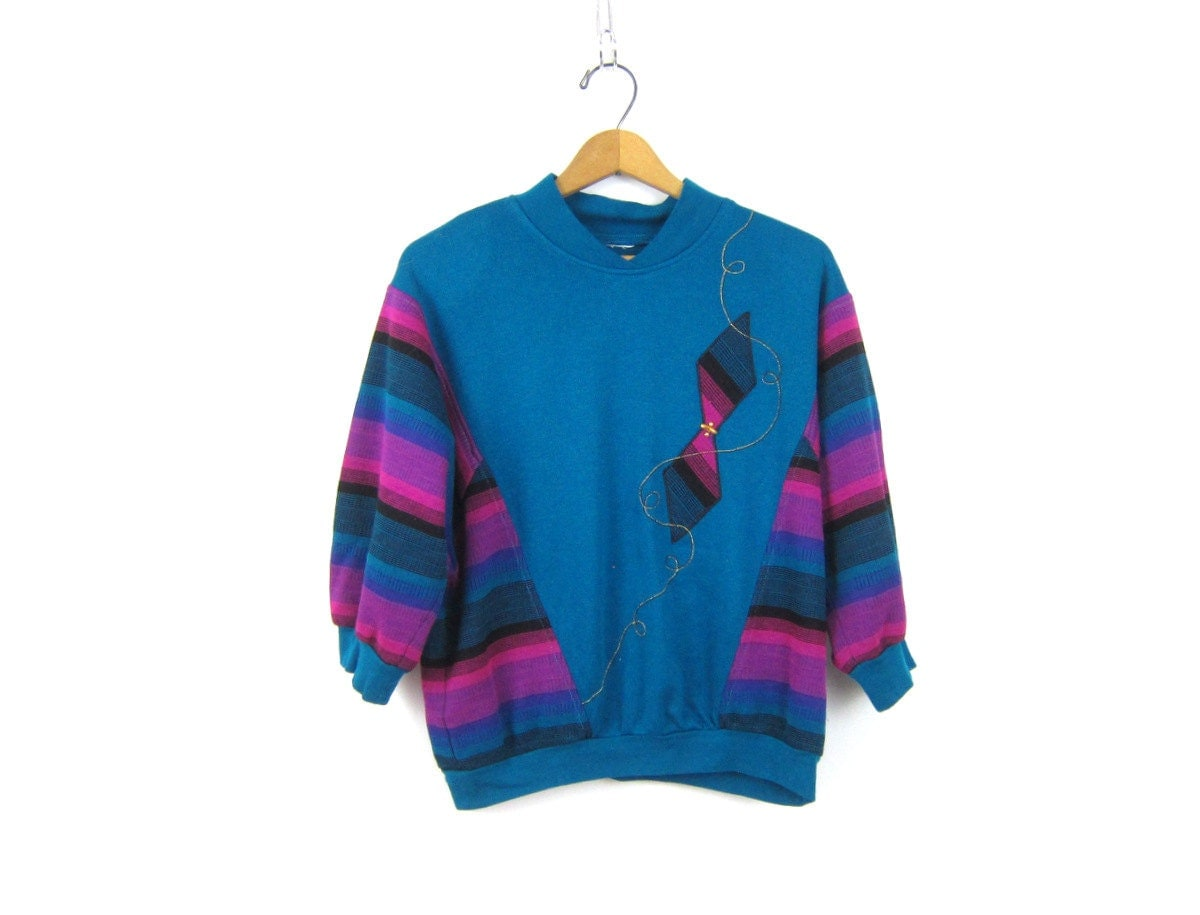 Retro Sweater Blue Purple Striped Batwing Sleeves Sweatshirt