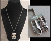 EXPRESSIVE, Brutalist Sterling Silver Male and Female Faces Pendant, Horror Masks, Israel, Vintage Jewelry,U nisex