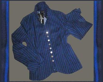 The BEST-Marimekko Ritva Falla Shirt,Fitted/Shaped,Piccolo Fabric,Blue/Black,Vintage Fashion,Women