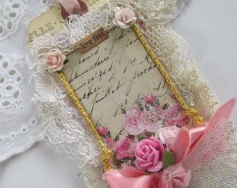 French Rose Lace Tag, Mixed Media Art Tag, French Gift Tag