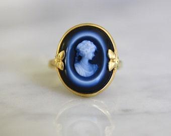 ANTIQUE VICTORIAN SARDONYX portrait cameo 18k gold vintage engagement ring size 6.75 circa 1870s