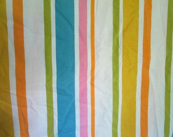 Groovy Vintage Full Flat Sheet Striped Pink Tuquoise Olive Orange Mustard