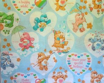 Vintage Care Bears Twin Size Sheet Set NOS 1982