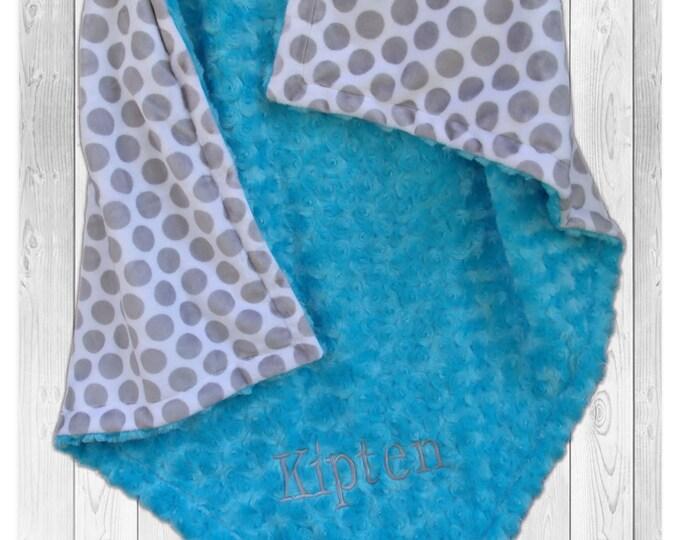 Personalized Gray Polka Dot and Aqua Swirl Minky Blanket, Gray and Turquoise Baby blanket