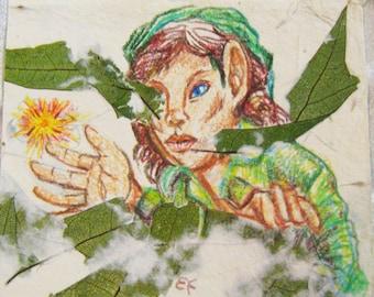 Color pencil sketch on hand made paper, Setting the Sprite Free, original art