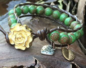 Leather Wrap Bracelet, Beaded Leather Wrap Bracelet, Single Wrap Artisan Boho Cuff green Vintage Italian beads, Boho Bracelet