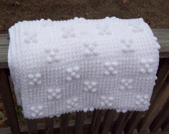 Crochet Bobble Afghan, Handmade Warm Bobble Blanket, Throw Size Bobble Blanket