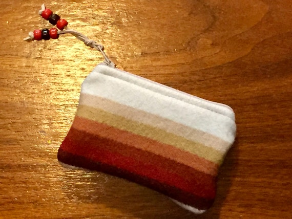 Wool Coin Purse / Phone Cord / Gift Card Holder / Zippered Pouch Earthy Serape Stripes