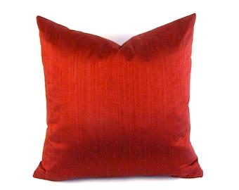 Marsala Silk Pillow - Burgundy Silk Pillow - Square Silk Pillow - Wine Lumbar Pillow - Marsala Dupioni Silk - Red Rectangular Silk Pillow