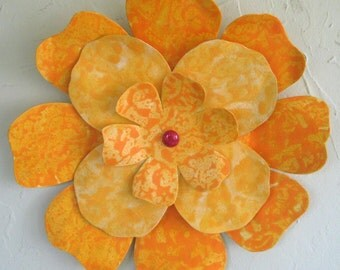 Flower art metal wall sculpture Hibiscus flower large exotic upcycled metal wall hanging  hand painted yellow 13 inches