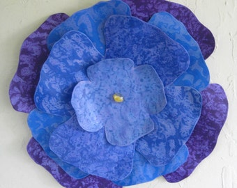 Large Metal Flower Wall Art Sculpture Recycled Metal Floral Wall Art Blue Purple Lavernder Hibiscus Indoor Outdoor Wall Hanging  16 inch