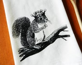 Flour Sack Dish Towel, Squirrel Wearing a Crown, Screen Printed Flour Sack Towel, Hand Printed Tea Towel, Kitchen Towel, Woodland Tea Towel