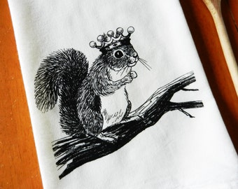 Flour Sack Dish Towel, Squirrel Wearing a Crown, Screen Printed Flour Sack Towel, Hand Printed Tea Towel, Kitchen Towel, Woodland, Farmhouse