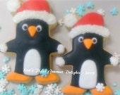 Penguin Cookies - Christmas Penguin Cookies - 12 Cookies