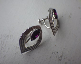 Purple Stone Earrings - Tear Drop Style - Sterling Silver - Screwback