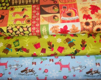 WEINIE DOGS #3  (Dachshund, Dox, Doxie, Wienie)  Fabrics, Sold INDIVIDUALLY not as a group, by the Half Yard